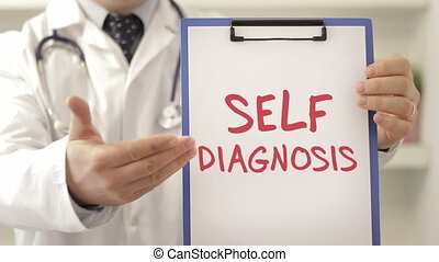 Doctor with self diagnosis sign shot clip