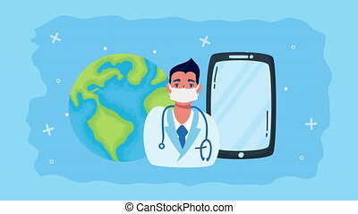 doctor with smartphone telemedicine app ,4k video animated