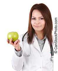 Doctor with stethoscope and green apple.