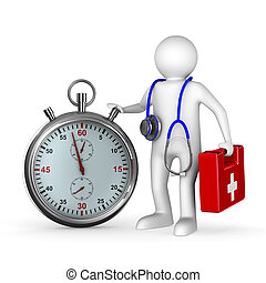 doctor with stethoscope and stopwatch on white background....