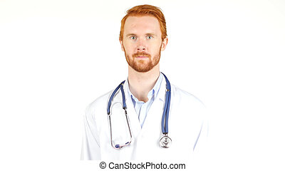 Doctor with stethoscope around his neck looking at the camera