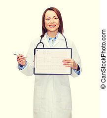 doctor with stethoscope, clipboard and cardiogram