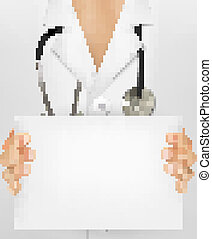 Doctor with stethoscope holding blank sheet of paper. Vector illustration.