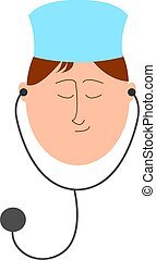 Doctor with stethoscope, illustration, vector on white background