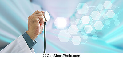 Doctor with stethoscope in hand and digital medical interface, medical technology concept