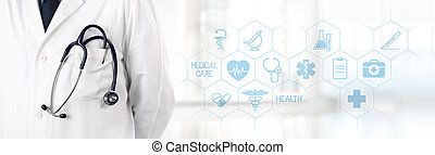 doctor with stethoscope in pocket and medical symbols icons ...