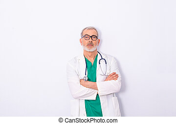 doctor with stethoscope isolated on white background