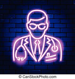 Doctor with Stethoscope Neon Signboard