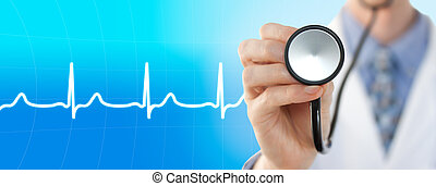 Doctor with stethoscope on the electrocardiogram graph ...