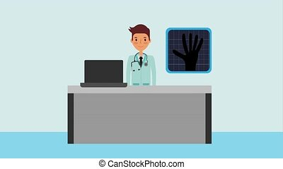 doctor with stethoscope x ray office desk computer
