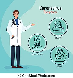 doctor with symptoms of coronavirus 2019 ncov vector illustration design
