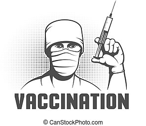 Doctor with syringe in hand