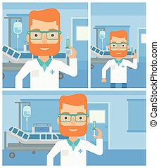 Hipster doctor with the beard holding medical injection syringe on the background of hospital ward. Vector flat design Illustration. Square, horizontal, vertical layouts.