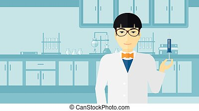 An asian doctor holding the syringe with medication on the background of laboratory vector flat design illustration. Horizontal layout.
