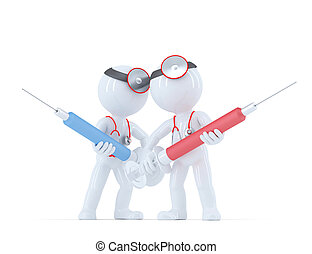 Doctor with syringe. Medical services concept. Isolated on...