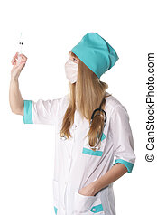 Doctor with syringe sideview