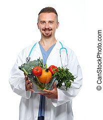Doctor with vegetables.