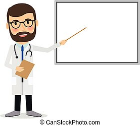 Doctor with whiteboard. Doctor presenting research results, ...