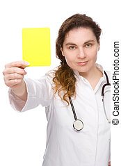 Doctor with yellow card