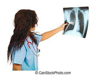 Doctor woman checking xray