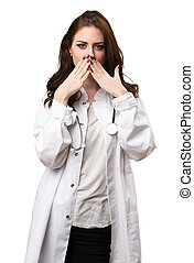 Doctor woman covering her mouth