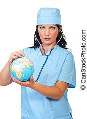 Doctor woman examine world globe