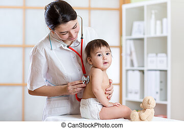 doctor woman examining lungs of kid with stethoscope