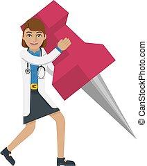 A doctor cartoon character mascot woman holding a big thumb tack map drawing pin concept