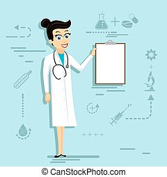 Doctor woman in lab coat holding blank clipboard. Stock ...