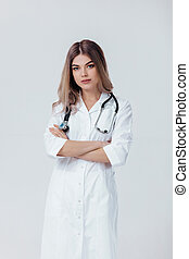 doctor woman in white coat with stethoscope