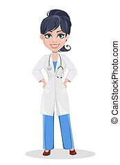 Beautiful cartoon character medic standing with hands on hips