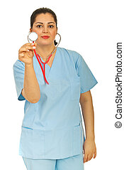 Doctor woman showing stethoscope