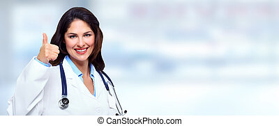 Doctor woman. - Medical doctor woman on abstract blue...