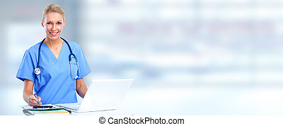 Doctor woman - Beautiful medical doctor woman over blue...