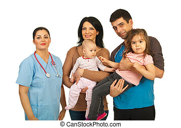 Doctor woman with happy family