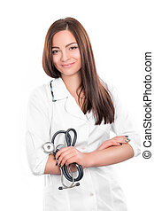 doctor woman with stethoscope - Smiling medical doctor woman...