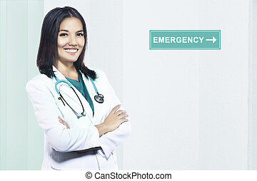 Doctor woman with stethoscope stand by on the emergency room