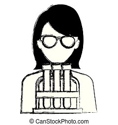 doctor woman with tube test character