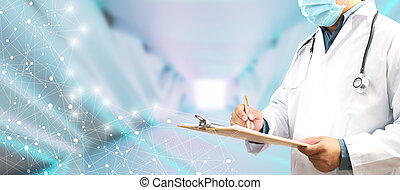 Doctor working in hospital. Medical technology research institute concept