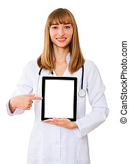 doctor working with tablet