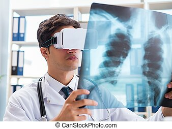 Doctor working with virtual VR reality glasses