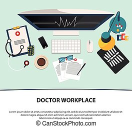Doctor workplace. Medicine icons set in flat design style. Flat.