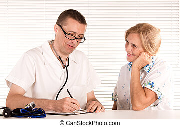 doctor works with patient