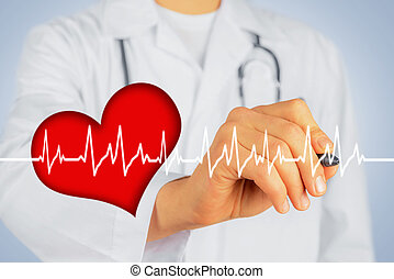 Doctor writes with pen shape of heartbeat