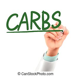doctor writing carbs word in the air