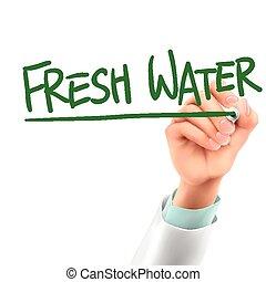 doctor writing fresh water words