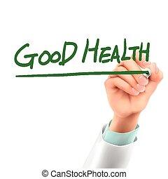 doctor writing good health words