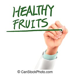 doctor writing healthy fruits words