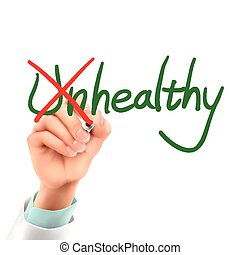 doctor writing healthy word in the air