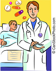 Doctor writing prescription with a bedridden patient behind...